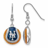 New York Mets Sterling Silver Baseball Earrings