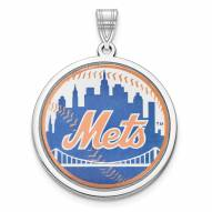 New York Mets Sterling Silver Disc Pendant