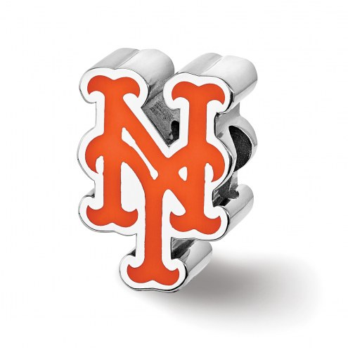 New York Mets Sterling Silver Enameled Bead