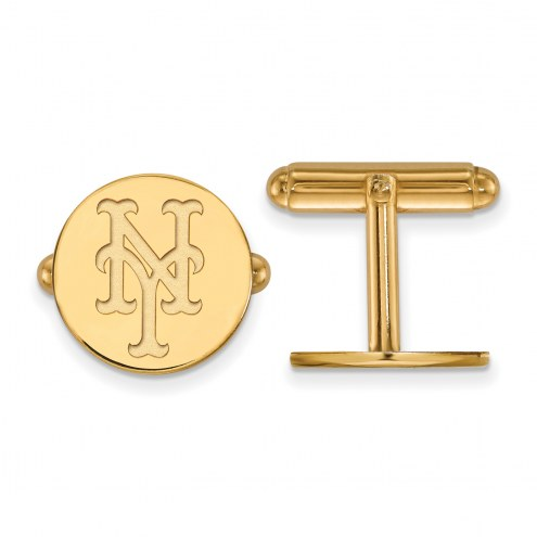 New York Mets Sterling Silver Gold Plated Cuff Links