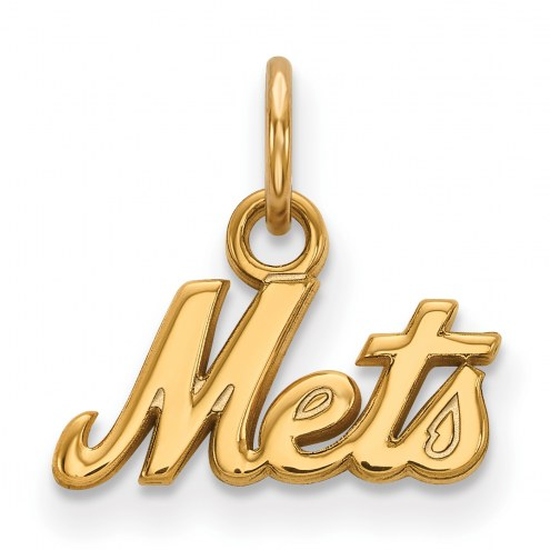 New York Mets Sterling Silver Gold Plated Extra Small Pendant