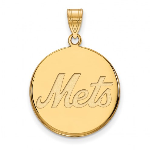 New York Mets Sterling Silver Gold Plated Large Disc Pendant
