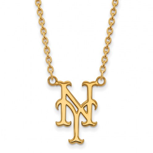 New York Mets Sterling Silver Gold Plated Large Pendant Necklace