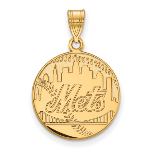 New York Mets Sterling Silver Gold Plated Large Pendant