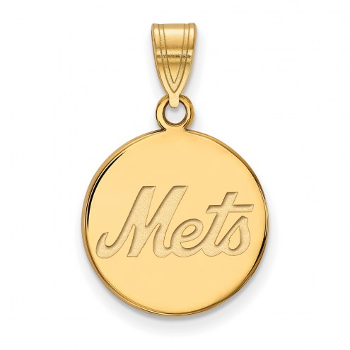 New York Mets Sterling Silver Gold Plated Medium Disc Pendant