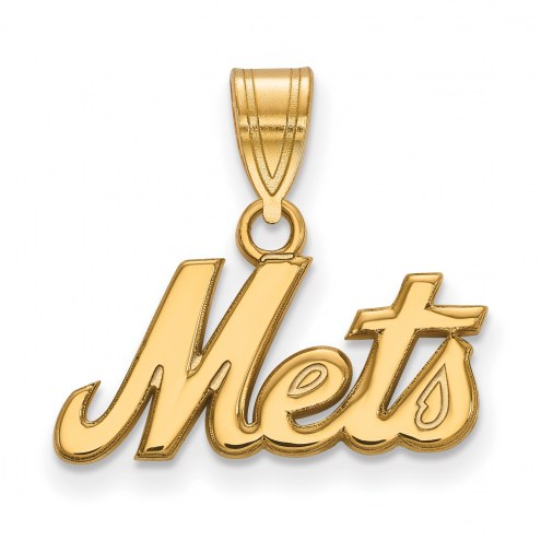 New York Mets Sterling Silver Gold Plated Medium Pendant