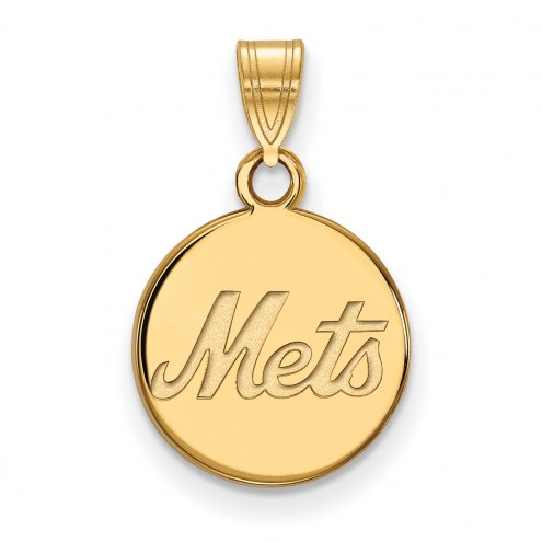 New York Mets Sterling Silver Gold Plated Small Disc Pendant