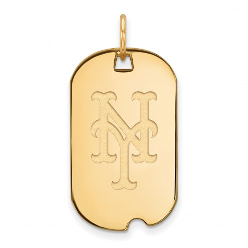 New York Mets Sterling Silver Gold Plated Small Dog Tag