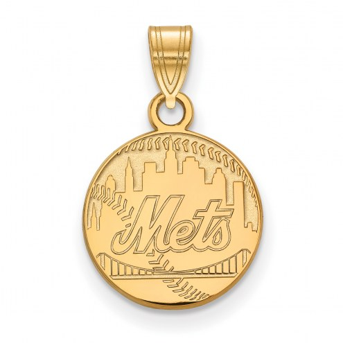 New York Mets Sterling Silver Gold Plated Small Pendant
