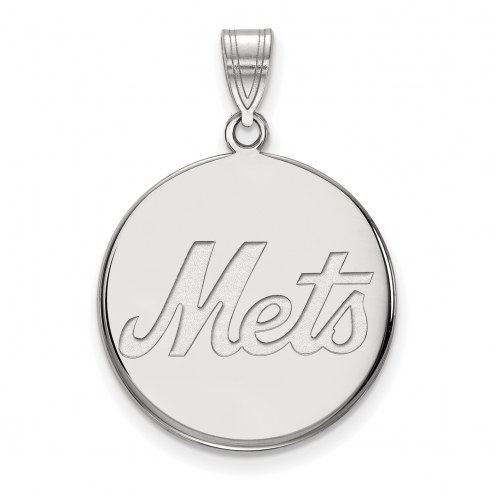 New York Mets Sterling Silver Large Disc Pendant