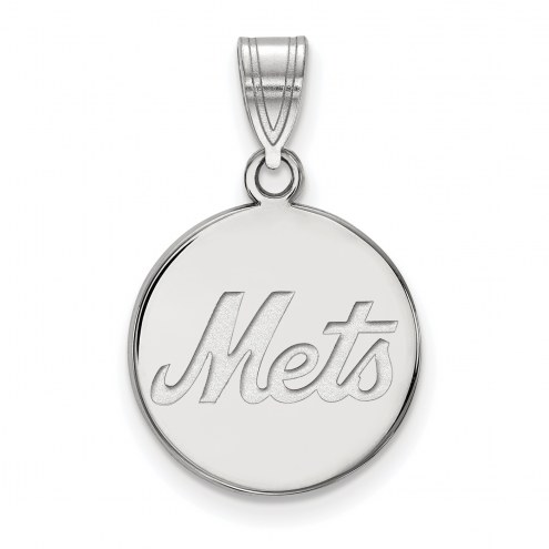 New York Mets Sterling Silver Medium Disc Pendant