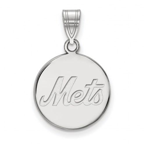 New York Mets Sterling Silver Medium Disc Pendant