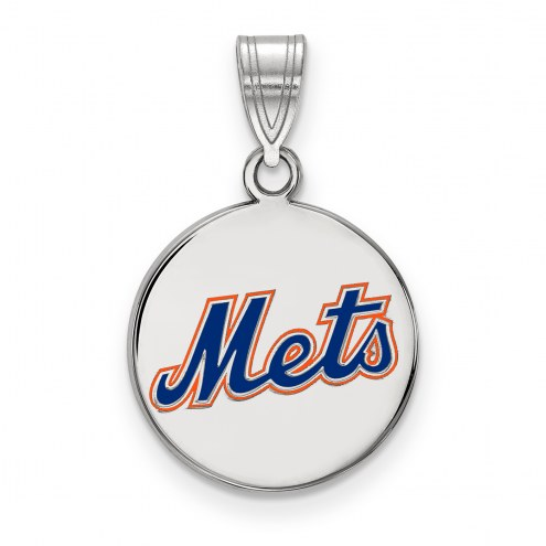 New York Mets Sterling Silver Medium Enameled Disc Pendant