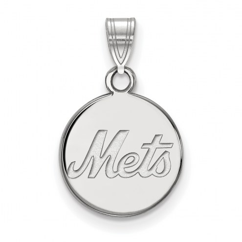 New York Mets Sterling Silver Small Disc Pendant