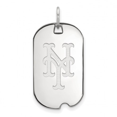 New York Mets Sterling Silver Small Dog Tag