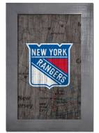 """New York Rangers 11"""" x 19"""" City Map Framed Sign"""