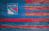 "New York Rangers 11"" x 19"" Distressed Flag Sign"