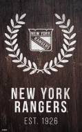 "New York Rangers 11"" x 19"" Laurel Wreath Sign"