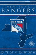 "New York Rangers 17"" x 26"" Coordinates Sign"