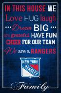 """New York Rangers 17"""" x 26"""" In This House Sign"""