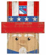 """New York Rangers 19"""" x 16"""" Patriotic Head"""