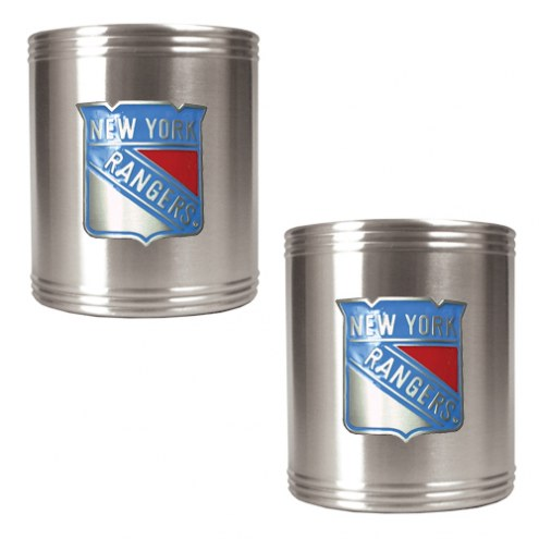 New York Rangers 2-Piece Stainless Steel Can Koozie Set - Primary Logo
