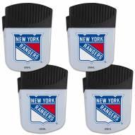 New York Rangers 4 Pack Chip Clip Magnet with Bottle Opener