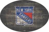 """New York Rangers 46"""" Distressed Wood Oval Sign"""