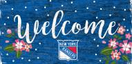 """New York Rangers 6"""" x 12"""" Floral Welcome Sign"""