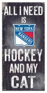 "New York Rangers 6"" x 12"" Hockey & My Cat Sign"
