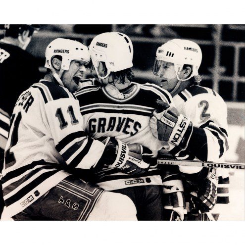 "New York Rangers Adam Graves, Brian Leetch & Mark Messier B&W Celebration Signed 16"" x 20"" Photo"