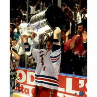 """New York Rangers Adam Graves With Stanley Cup Overhead Signed 16"""" x 20"""" Photo"""
