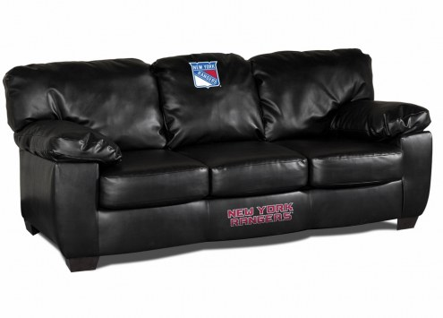 New York Rangers Black Leather Classic Sofa