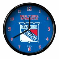 New York Rangers Black Rim Clock