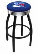 New York Rangers Black Swivel Barstool with Chrome Ribbed Ring