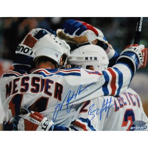 "New York Rangers Brian Leetch/Mark Messier Team Huddle Signed 16"" x 20"" Photo"