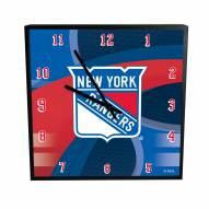 New York Rangers Carbon Fiber Square Clock