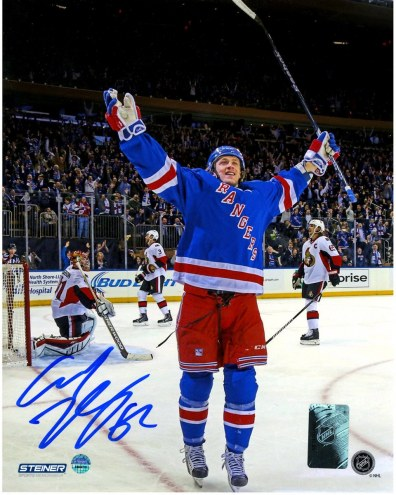 New York Rangers Carl Hagelin Signed Celebrating Game Winning Goal vs the Senators 8 x 10 Photo