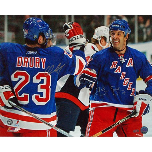 "New York Rangers Chris Drury & Brendan Shanahan Celebration Signed 16"" x 20"" Photo"