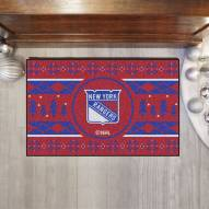 New York Rangers Christmas Sweater Starter Rug