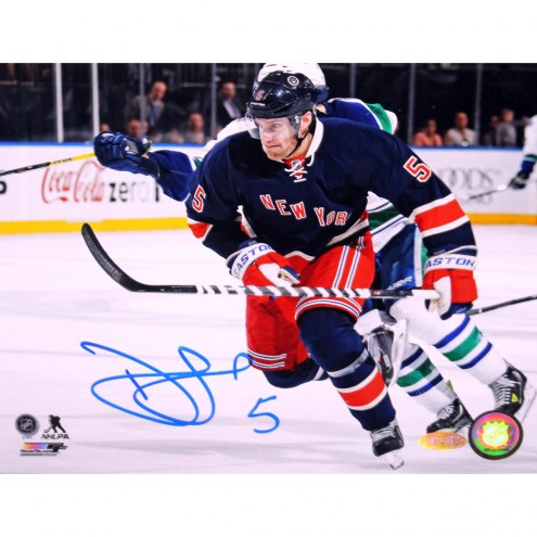 "New York Rangers Dan Girardi Horizontal Blue Jersey Signed 16"" x 20"" Photo"