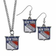 New York Rangers Dangle Earrings & Chain Necklace Set