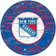 New York Rangers Distressed Round Sign