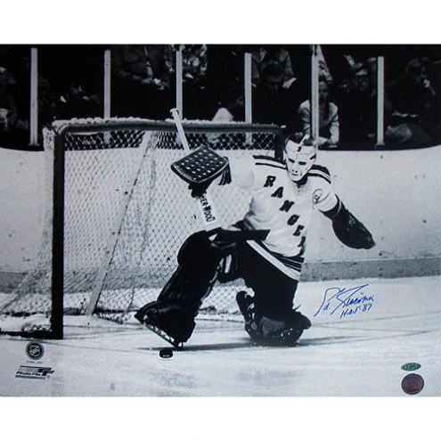 "New York Rangers Eddie Giacomin Kick Save with HOF Signed 16"" x 20"" Photo"
