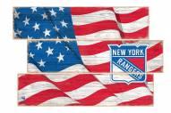 New York Rangers Flag 3 Plank Sign