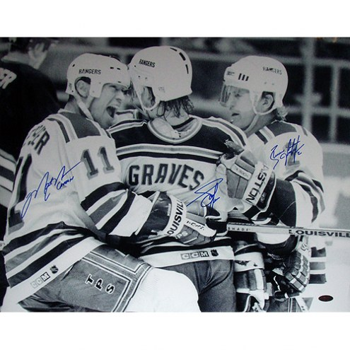 "New York Rangers Graves, Leetch & Messier Celebration w/ ""Captain"" Signed 16"" x 20"" Photo"