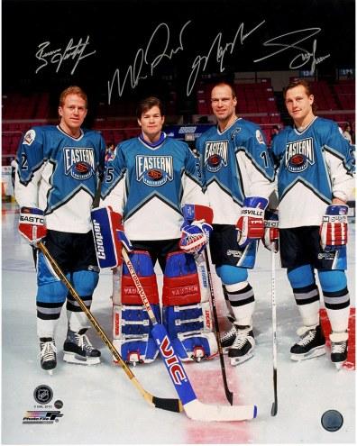 "New York Rangers Adam Graves, Brian Leetch, Mike Richter, Mark Messier 1994 All-Star Signed 16"" x 20"" Photo"
