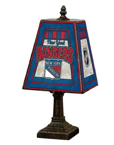 New York Rangers Hand-Painted Art Glass Table Lamp