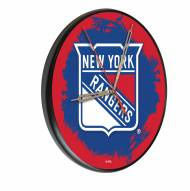 New York Rangers Digitally Printed Wood Clock
