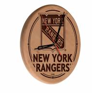 New York Rangers Laser Engraved Wood Clock